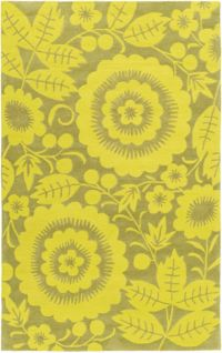 Surya Skidaddle Floral/Paisley 7'6 x 9'6 Area Rug in Lime