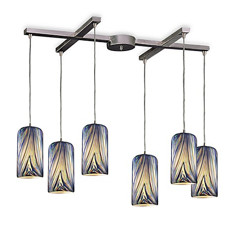 ELK Lighting Molten 6-Light Pendant with Molten Ocean Glass