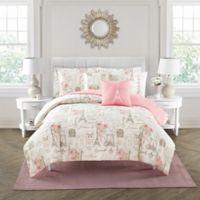 City of Romance 5-Piece Reversible Queen Comforter Set in Pink