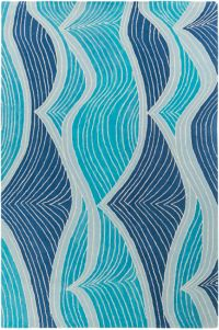 Surya Lullaby Modern Abstract 5' x 7'6 Area Rug in Aqua/Bright Blue