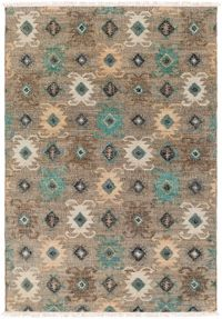 Surya Lenora Global 8' x 10' Area Rug in Teal/Black