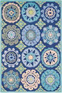 Surya Technicolor Global Geometric Bursts 5' x 7'6 Area Rug in Dark Blue