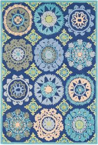 Surya Technicolor Global Geometric Bursts 8' x 10' Area Rug in Dark Blue