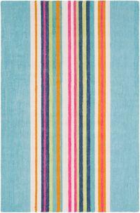 Surya Technicolor Striped 5' x 7'5 Area Rug in Mint
