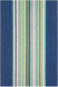 Surya Technicolor Striped 5' x 7'6 Area Rug in Dark Blue
