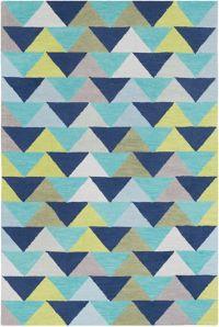 Surya Technicolor Geometric 5' x 7'6 Area Rug in Denim