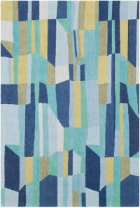 Surya Technicolor Handwoven 5' x 7'6 Area Rug in Dark Blue