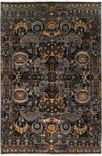 Surya Empress Traditional 5'6 x 8'6 Hand-Knotted Area Rug in Black/Saffron