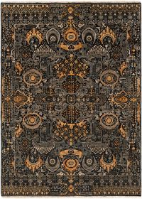 Surya Empress Traditional 8' x 11' Hand-Knotted Area Rug in Black/Saffron