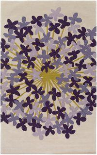 Surya Kismet Floral 5' x 7'6 Hand Tufted Area Rug in Khaki/Purple