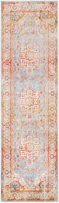 Surya Ephesians Vintage 2' 7 x 9' Runner in Orange/Grey