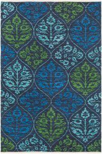 Surya Elaine Global Trellis 5' x 7'6 Area Rug in Black/Blue