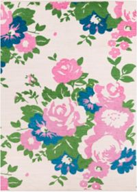Surya Elaine Floral Roses 8' x 11' Area Rug in Ivory/Pink