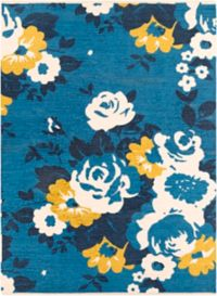 Surya Elaine Floral Roses 8' x 11' Area Rug in Blue/Yellow