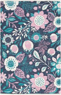 Surya Elaine Floral Sunflowers 8' x 11' Area Rug in Navy/Teal