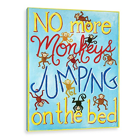 No More Monkeys Jumping Blue Canvas