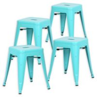 "Poly And Bark Iron Table Stool 18"" Bar Stools in Aqua (Set of 4)"