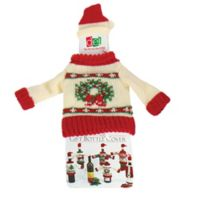Wreath Knit Hat and Sweater Bottle Topper