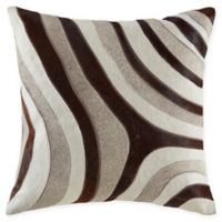 Wave Hide Square Throw Pillow in Brown