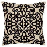 Velvet Applique Square Throw Pillow in Natural/Black