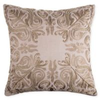 Beaded Damask Square Throw Pillow in Gold