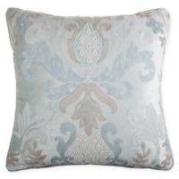 Velvet Damask Square Pillow in Mint