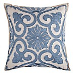 Beaded Damask Square Throw Pillow in Cornflower