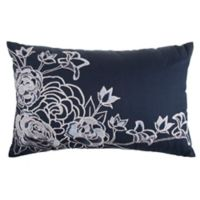 3D Floral Oblong Throw Pillow in Navy