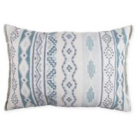 Embroidered Tribal Oblong Throw Pillow in Spa