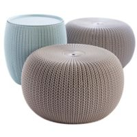 Keter Urban Knit 3-Piece Pouf Set in Misty Blue/Taupe