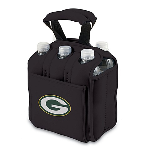 Picnic Time® Green Bay Packers Six-Pack Cooler Tote in Black