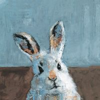 Marmont Hill Bonjour Rabbit 12-Inch Square Canvas Wall Art
