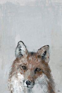 Marmont Hill Bonjour Fox 30-Inch x 20-Inch Canvas Wall Art