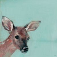 Marmont Hill Bonjour Fawn 12-Inch Square Canvas Wall Art