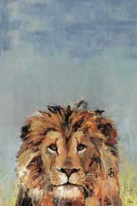 Marmont Hill Bonjour Lion II 12-Inch x 8-Inch Canvas Wall Art