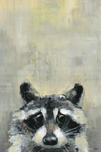Marmont Hill Bonjour Oh Raccoon 12-Inch x 8-Inch Canvas Wall Art