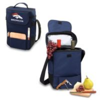 Picnic Time® Denver Broncos Duet Insulated 2-Bottle Wine and Cheese Tote in Navy Blue