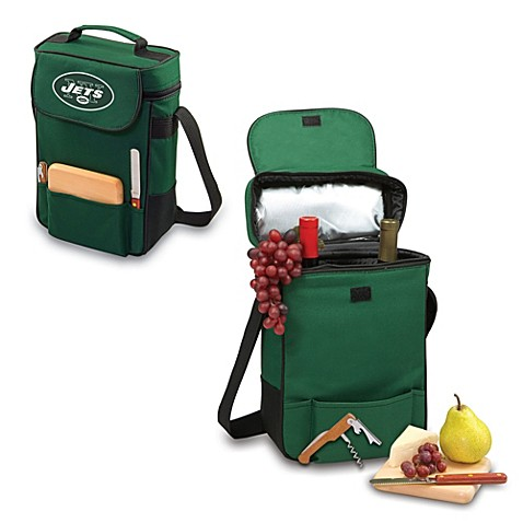 Picnic Time® New York Jets Duet Insulated 2-Bottle Wine and Cheese Tote in Hunter Green