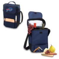 Picnic Time® Buffalo Bills Duet Insulated 2-Bottle Wine and Cheese Tote in Navy Blue