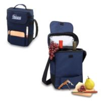 New England Patriots Picnic Time® Duet Insulated 2-Bottle Wine and Cheese Tote in Navy Blue