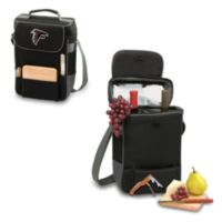 Picnic Time® Atlanta Falcons Duet Insulated 2-Bottle Wine and Cheese Tote in Black