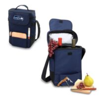 Picnic Time® Seattle Seahawks Duet Insulated 2-Bottle Wine and Cheese Tote in Navy Blue