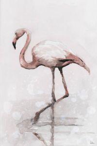 Marmont Hill Flamingo Splash 12-Inch x 8-Inch Canvas Wall Art