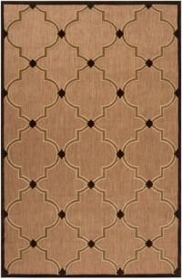 Surya Portera Modern 5' x 7'6 Indoor/Outdoor Area Rug in Brown/Neutral