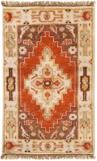 Surya Zeus Center Medallion 2' x 3' Hand Knotted Accent Rug in Rust/Butter