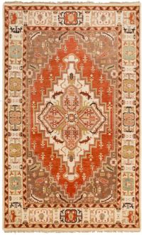 Surya Zeus Center Medallion 5'6 x 8'6 Hand Knotted Area Rug in Rust/Butter