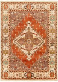 Surya Zeus Center Medallion 8' x 11' Hand Knotted Area Rug in Rust/Butter