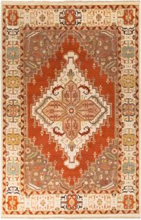 Surya Zeus Center Medallion 9' x 13' Hand Knotted Area Rug in Rust/Butter