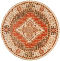 Surya Zeus Center Medallion 8' Round Hand Knotted Area Rug in Rust/Butter