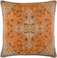 Surya Shadi Vintage Square Throw Pillow in Khaki/Blue